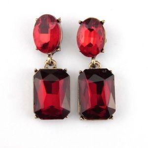 Kate Spade Red & Gold Crystal Drop Earrings